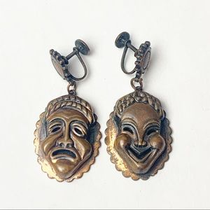 Vintage Metal Comedy Tragedy Mask Clip On Earrings
